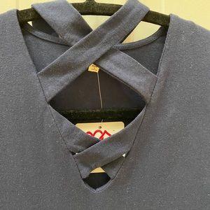 Heart and Hips navy sleeveless x neck dress